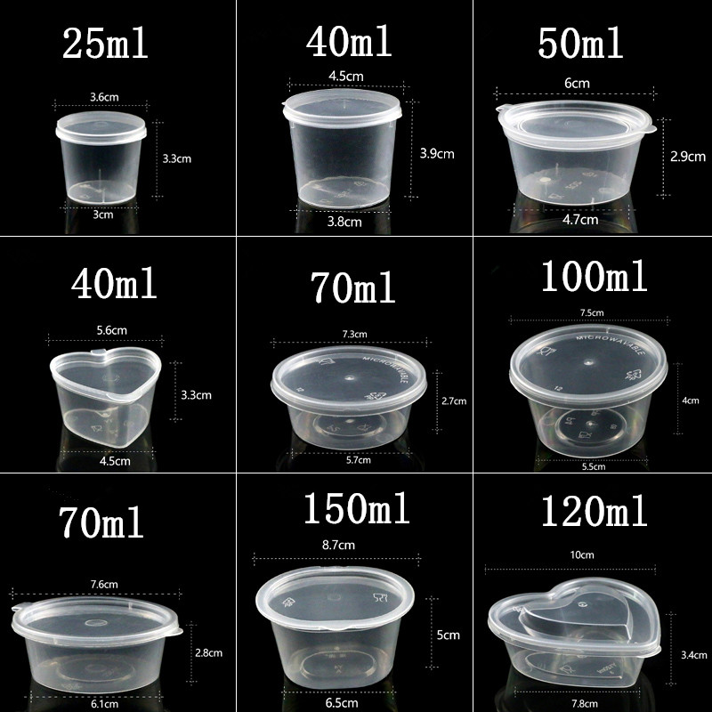 100pcs Round Transparent Disposable Sauce Cup Varies Capacity Small Taste Glass Pudding Jelly Yogurt Plastic Cups With Lid