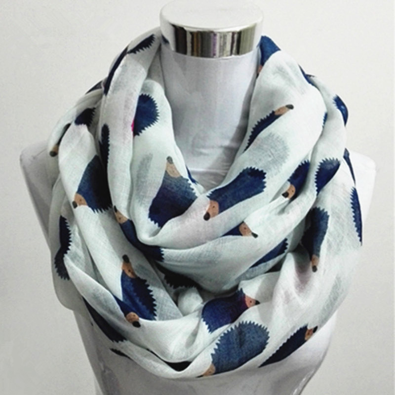 New Women Ladies Fashion Viscose Cotton Hedgehog Print Infinity Scarf Fashion Animal Scarves Loop Scarves Ring Scarf For Women