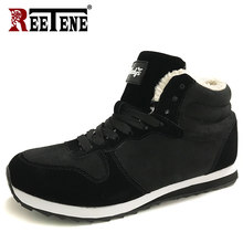 REETENE Heren Laarzen Sneeuw Winter Laarzen Mannen Winter Schoenen Warm Enkel Botas Hombre Warme Casual Schoenen Mannen Mannen Pluche Winter sneakers(China)