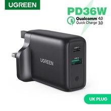 Ugreen 36W caricatore USB UK ricarica rapida 3.0 tipo C PD ricarica rapida per iPhone 12 caricatore USB con caricatore per telefono cellulare QC 3.0
