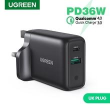 Ugreen 36W UK USB Ladegerät Schnell Ladung 3,0 Typ C PD Schnelle Lade für iPhone 12 USB Ladegerät mit QC 3,0 Handy Ladegerät