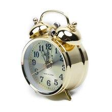 Mechanical Gold Alarm Clock Manual Wind Up Vintage Metal Clock Bell Gift Cute