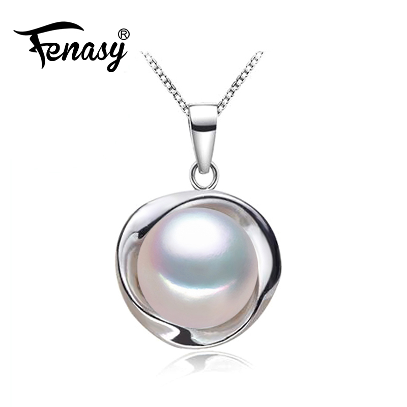 FENASY 925 Sterling Silver Jewelry Natural Freshwater Pearl Necklace For Women Choker Necklace Cute Round Pendant