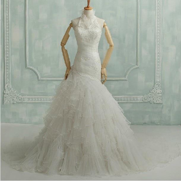 Highneck Free Shipping Bridal Ball Gown 2016 New Fashion Ruffles Marriage Long Vestidos De Novia Tulle Bride Wedding Dresses