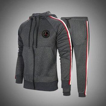 2020 Men's Sets Autumn Winter Hooded Tracksuit Solid Color Sportswear 2 Pieces Set Men Casual Sweatshirt+Pants Slim Sports Suit
