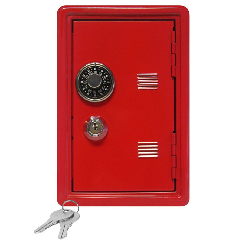Mini Metal Safes Password Key Dual-use Safe Box Creative Home Crafts Ornaments Small Security Cash Jewelry Storage Box