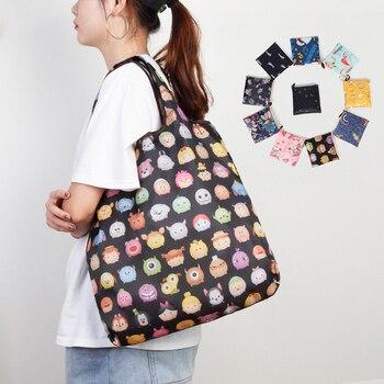 Foldable Reusable Shopping Bag Women Eco Friendly Folding Tote Bag Waterproof Portable Travel Shoulder Bag Supermarket