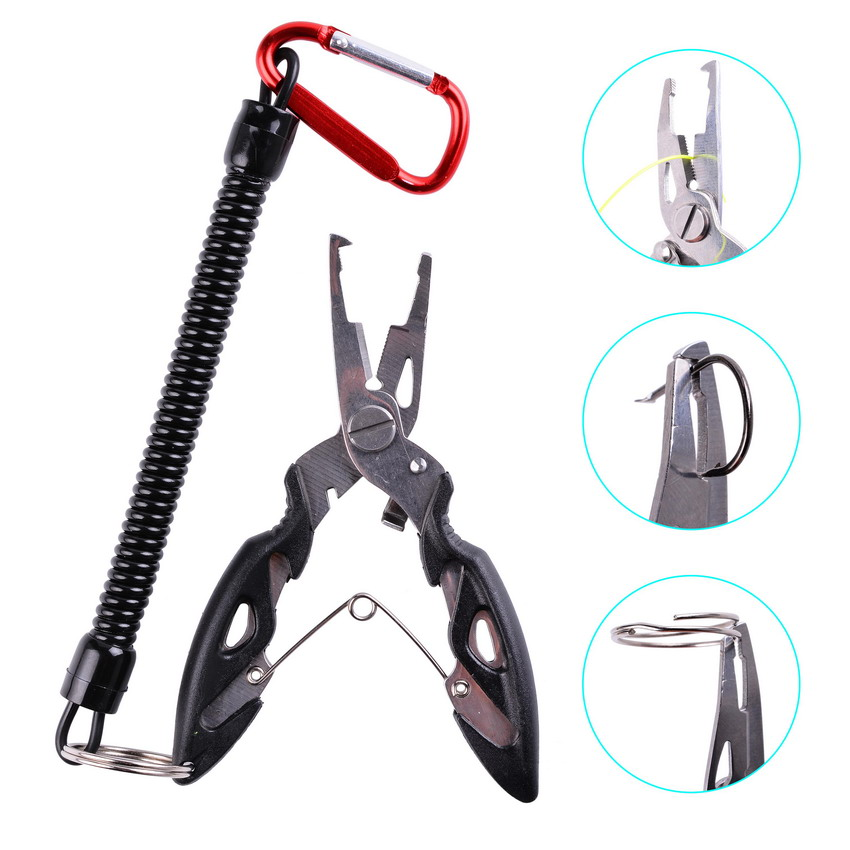 Multi Functional Fishing Pliers Scissors Line Cutter Hook Remover Fishing Clamp Accessories Tools With Lanyards Spring Rope