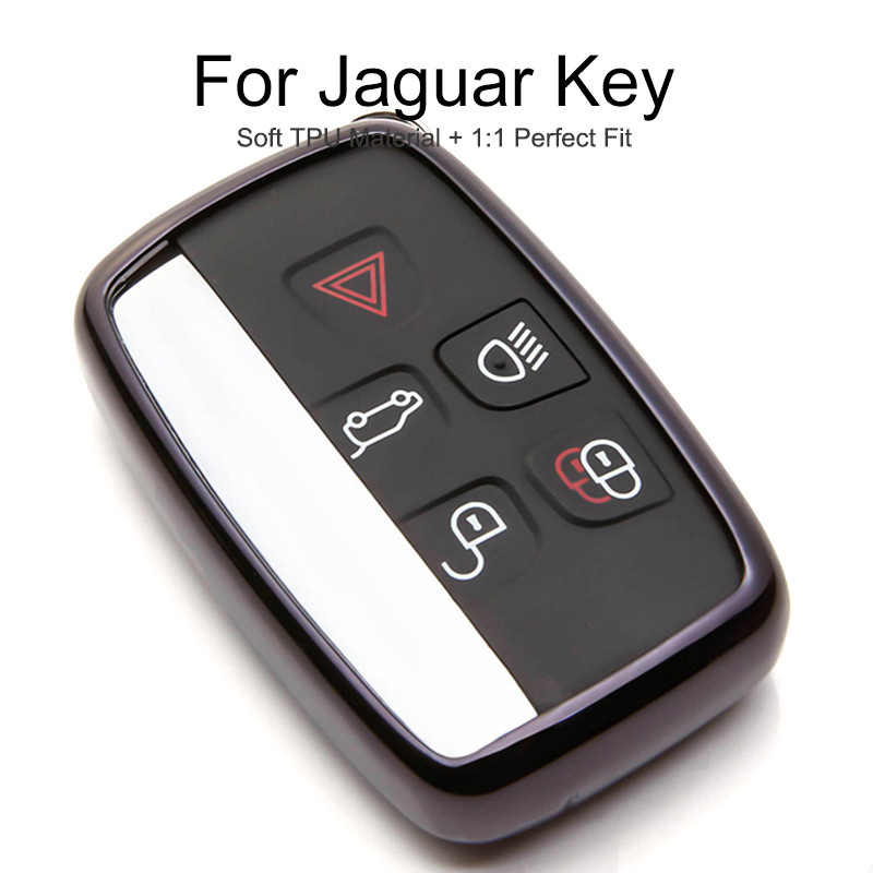 Green Hyunkey TPU Keychain for Range Rover and Jaguar Key Cover Range Rover Evoque Velar Discovery LR4 XF XJ XE F-PACE F-Type 5-Buttons Key Fob Shell case