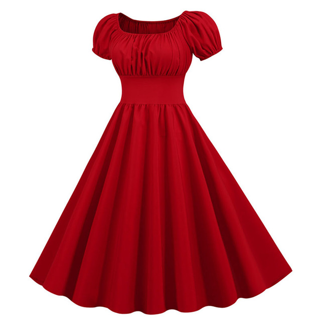 Women Vintage Dress Robe Femme Summer Puff Sleeve Square Collar Solid Red Color Elegant Party Plus Size Casual Office Midi Dress 2