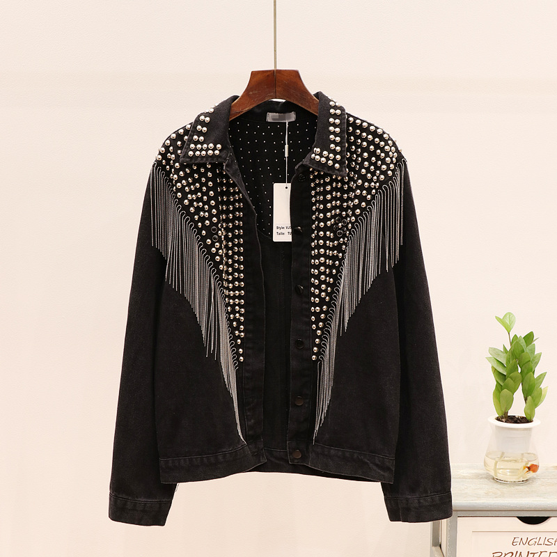 Women's Denim Jacket 2019 New Black Denim Jacket Women Coat Europe Rivet Fringe Jacket Female Denim Jacket Woman Blue Outerwear