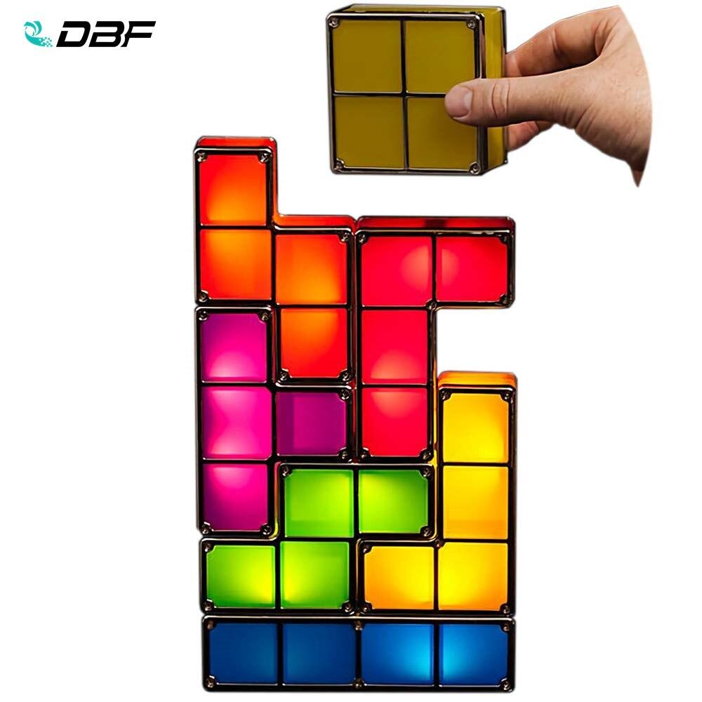 7 cores diy tetris quebra cabeca luz empilhavel led lampada de mesa bloco constructible luz da