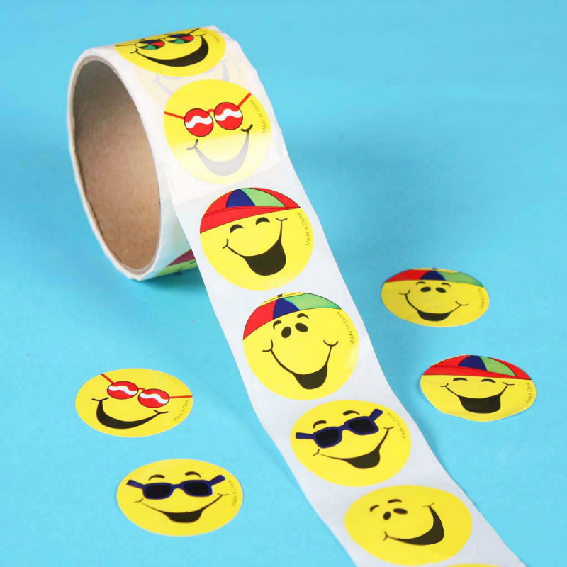 One Roll Creative Adhesive Tape With 100pcs Smiley Emoji Stickers 3.8cm Fashion Stationery Sticker For Children Toy Gifts