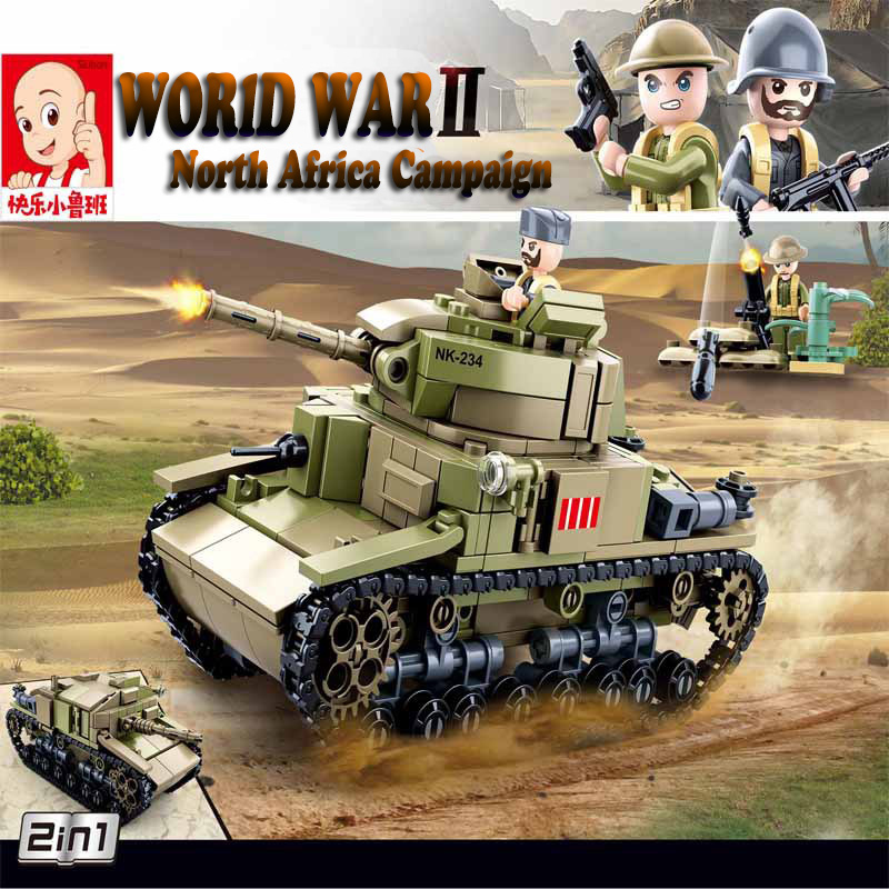Sluban 463Pcs World War II 2 In 1 M13/40 Medium Tank Building Blocks WW2 Military Car Model Toys As Christmas Gift For Children