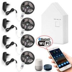 20m 5050 RGB LED tira de luz + aplicación WIFI Bluetooth controlador de malla + transformador Compatible para Amazon Alexa Google casa IFTTT