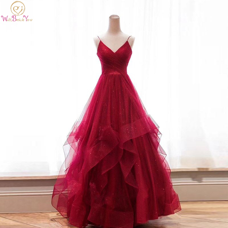 Wine Red Bling Prom Dresses Long Formal 2019 Spaghetti Strap Ruffles Sequined Pleats V Neck Ball Gown Lace Up Party Evening Gown
