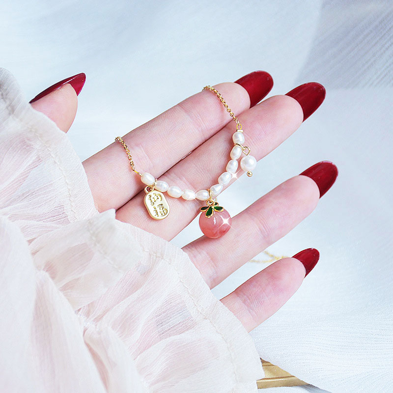 Minimalist Peach Necklace Exquisite Natural Pearl Necklace Metal For Women Fine Glamor Gift Temperament Accessories Romantic