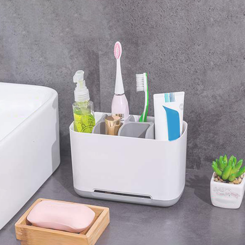 Electric Toothbrush Holder Bathroom Storage Organizer Simple Modern Style Large Size Storage Box with 6 Compartments PI image