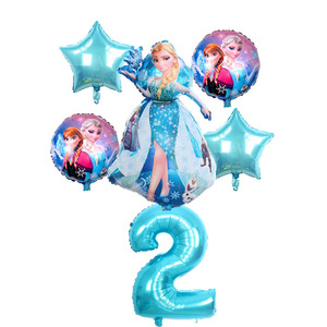 Image 5 - 6 stuks Verjaardag Elsa Anna Prinses Ballonnen Verjaardagsfeestje Decoratie 32 Inch Nummer blauw Ballonnen Set Hoge Kwaliteit