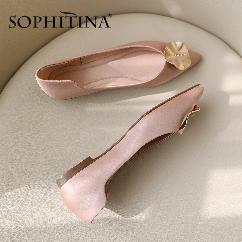 SOPHITINA Office Fashion Flats Women Slip-On Shallow Sweet Circle Metal Decoration Ladies Shoes Comfortable Handmade Flats PO523