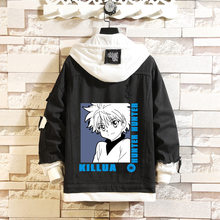 Anime Hunter x Hunter Denim Jacket Men/Boys Fashion Harajuku Oversized Hooded Jackets Hunter x Hunter Hisoka Coats Clothes