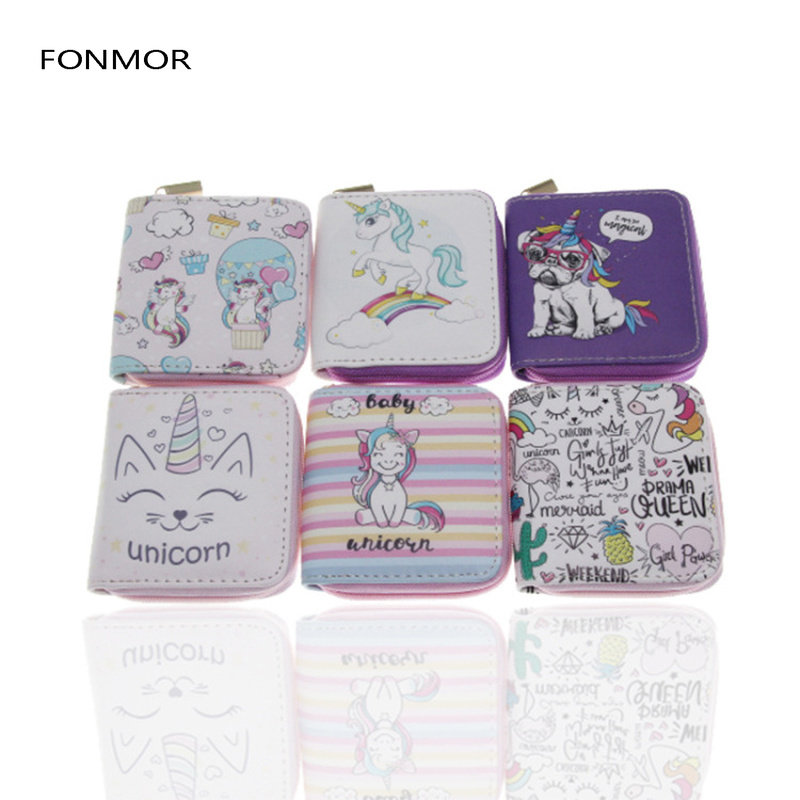 2019 New Unicron Printed Women Short Wallets Cute Cartoon Zipper Purses for Girls Clutch Coin Card Holders