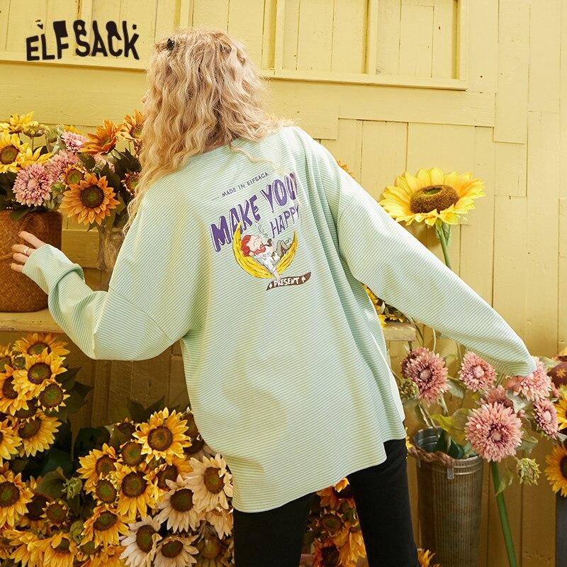 ELFSACK Green Striped Van Gogh Print Loose Casual Women Clothes 2020 Spring New Long Sleeve Korean Style Ladies Daily Tees