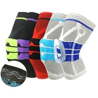Patella Knee Protector Brace Silicone Spring Knee Pad Volleyball Basketball Sports Knitted Compression Elastic Knee Sleeve
