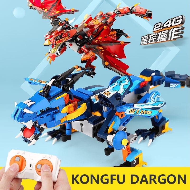 Mould King – blocs de construction en briques pour enfants, jouet, cadeaux, ninjagoes électriques, modèle Dragon Knight, application RC, 13018, 70602