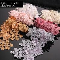 1yard 8.5cm strass perlé 3D fleur brodé dentelle bord ruban d'habillage bricolage tissu de mariage vêtement couture artisanat accessoires