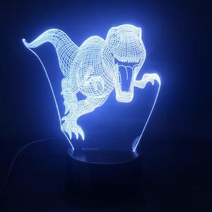 Animal Dinosaur 3D Anime Led Light 3d LED Seven Colors USB Night Lights Children's New Year Christmas Night Unisex Toy Gift