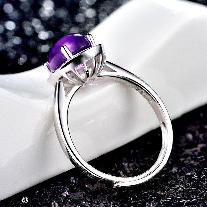 Bague Ringen pur 925 Bague en argent Sterling pour les femmes avec 10*12mm créé violet pierres précieuses anneaux femme bijoux fins pour mariage - 5