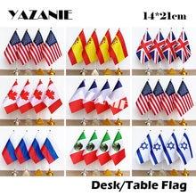 Yaztou14 * 21cm 4pcs bandeira americana, espanha, reino unido, canadá, frança, país, russo, méxico, israel, nacional bandeira de mesa