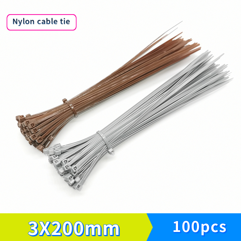 Self-locking Nylon Cable Ties 3X200 Brown Silver-gray Plastic Strapping Strip Width 2.7 Mm 100 Pcs / Pack