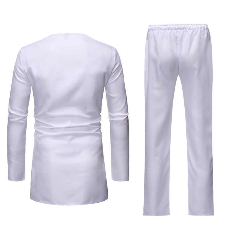 Conjunto de pantalón blanco africano estampado Dashiki conjunto de 2 piezas conjunto de ropa de marca 2020 para hombre ropa de calle traje africano para hombres ropa africana