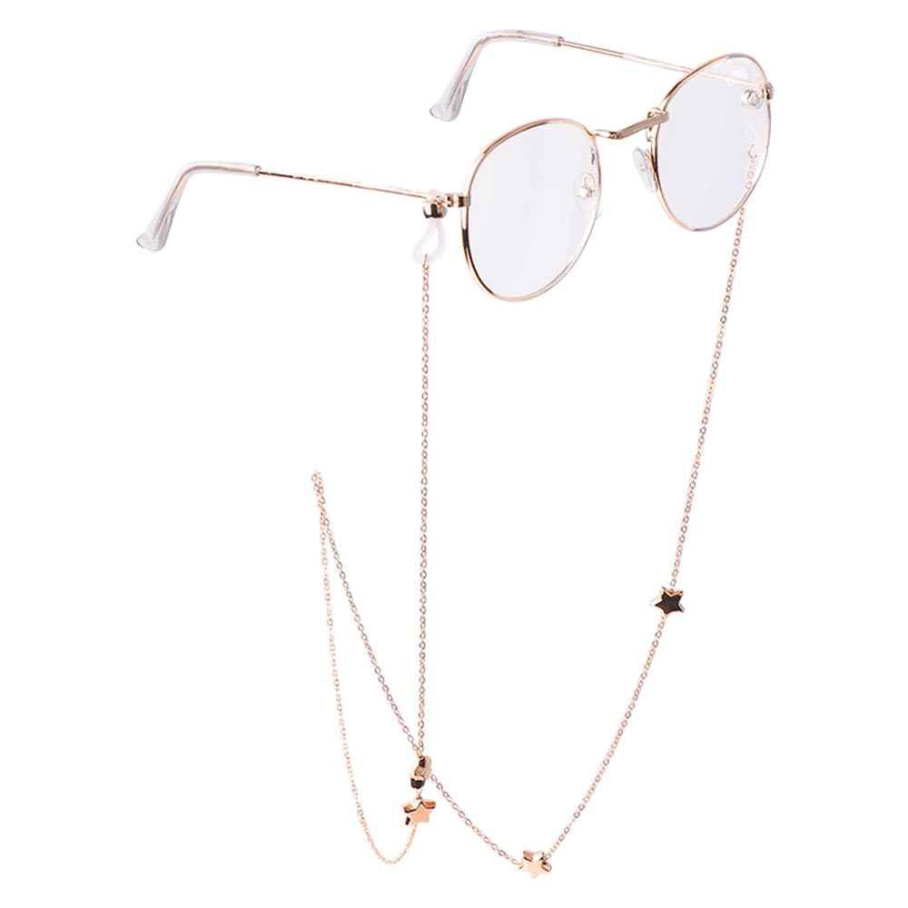Ligação corrente de óculos de metal, estrelas cordão de silicone para óculos de sol, corrente de colar, acessórios de corda para pescoço