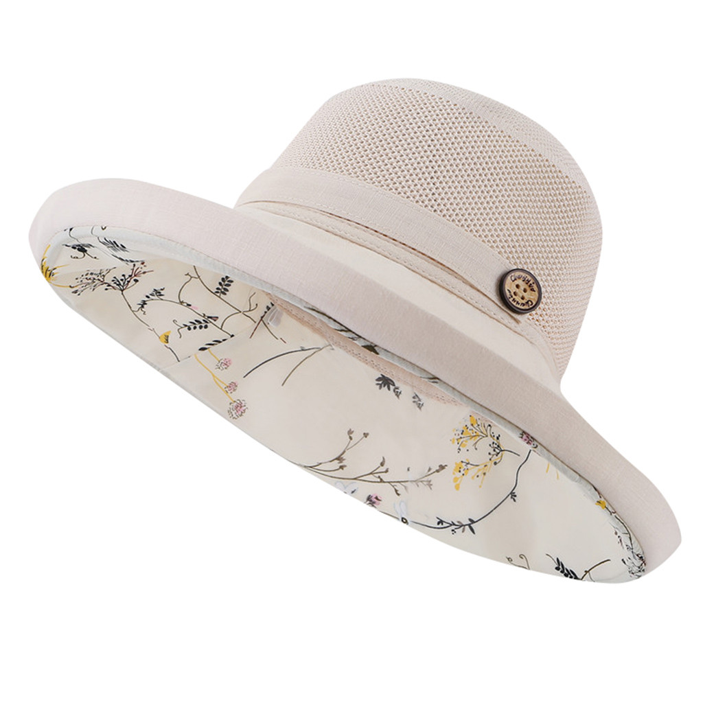 SAGACE Splicing Wooden Buckle Sunshade Sun Hat Double-layer Floral Small Fresh Literary Fisherman Hat Lady Winter Autumn