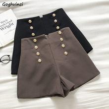 Pantalones con doble botonadura De estilo coreano para Mujer, calzas De cintura alta, lisos, elegantes, De verano, gran oferta