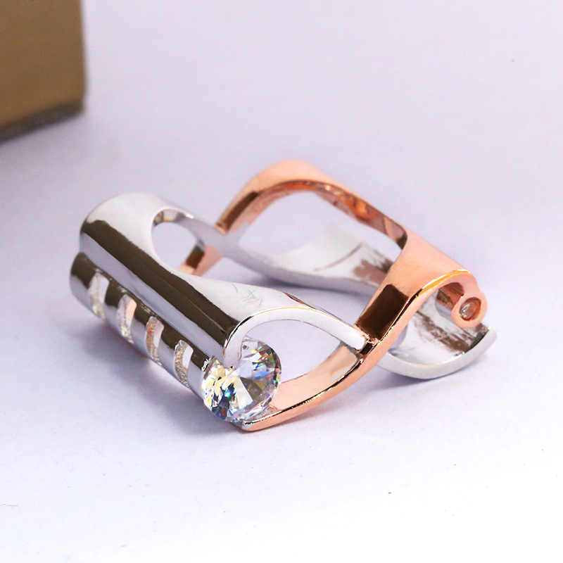 יוקרה נקבה צלב אינפיניטי אצבע טבעת אופנה כסף עלה זהב צבע אירוסין טבעת בציר חתונה לנשים