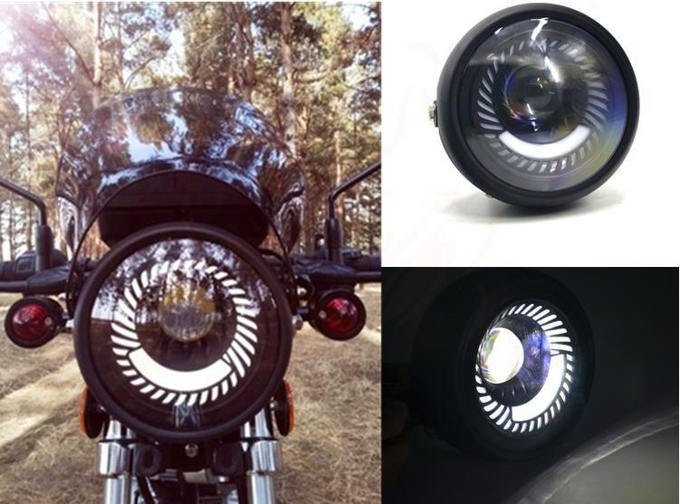 "Motorcycle Bikes Cafe Racer 6.5/"" LED Headlight Spiral White Bulb Mount Bracket"