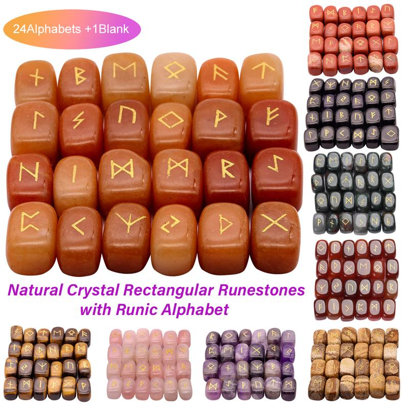 Rune Stones-Set Divination Spiritual Crystal with Engraved-Elder Futhark Alphabet Runic