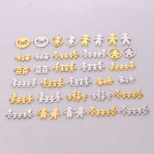 5pcs Family Chain Stainless Steel Pendant Necklace Parents and Children Necklaces Gold/steel Jewelry Gift for Mom Dad New Twice