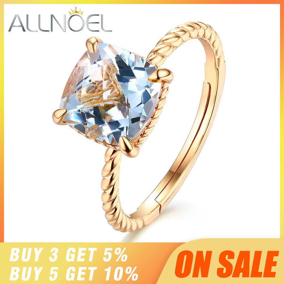 ALLNOEL 925 пробы Серебряное обручальное кольцо для женщин 100% натуральный розовый кварц/Топаз/цитрин/гранат 8*8 мм Свадебные ювелирные изделия