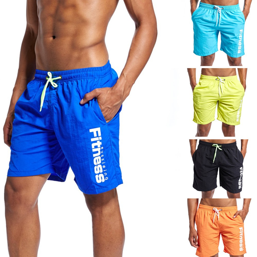 Swim-Trunks Shorts Surfing Beach New with 3 Useful Pockets 5-Colors Quick-Dry Running