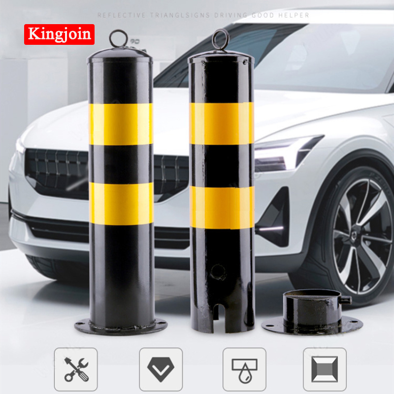 Safety Protection Steel Tube Material Cast Parking Traffic Bollard With Reflective Sticker