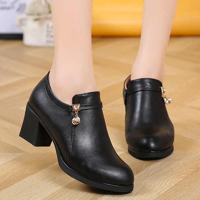 Bayan yarım çizmeler orta topuklu siyah çizme tasarım ayakkabı patik 2019 kadın çizme bayan Botas Mujer bootee ghn89