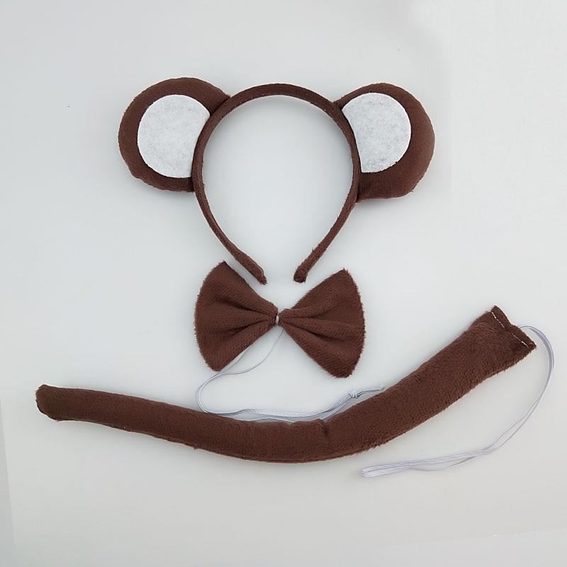 Детская повязка на голову с ушками животных для мальчиков и девочек; комплект с галстуком-бабочкой и хвостом для детей и взрослых; карнавальный костюм; вечерние аксессуары для волос - Цвет: 57