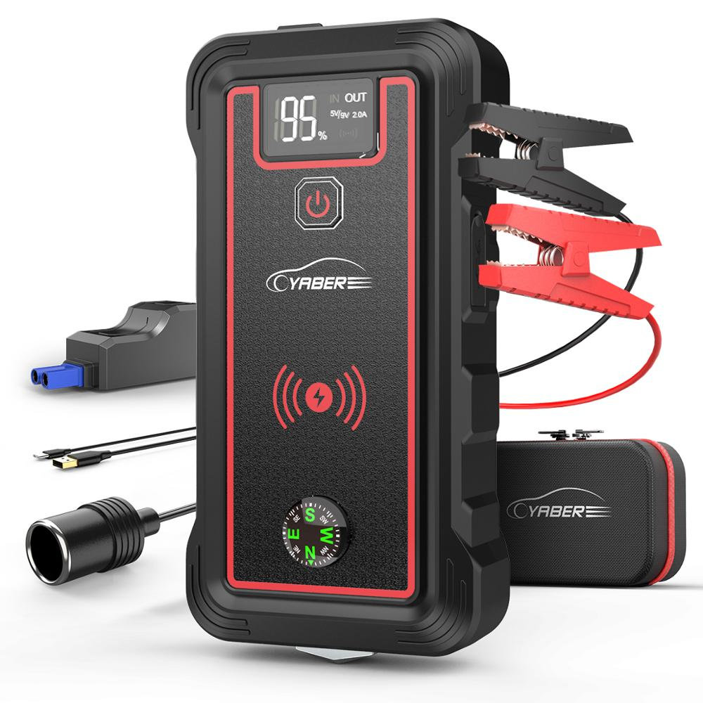 Yaber Car Battery JUMP Starter 2500A Power Bank JUMP Boosterราคาเริ่มต้นที่อุปกรณ์ 10W Wireless LCDหน้าจอความปลอดภัยค้อน