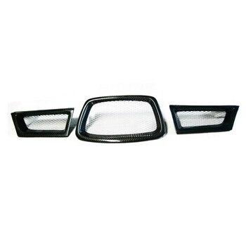 Black 3Pcs/set Carbon Fiber Car Front Lower Mesh Grill Grille For Subaru Impreza WRX STi 9th 2006-2007 28012