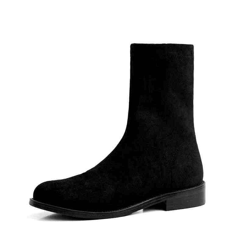 Krazing pot sıcak satış tavsiye mikrofiber streç yuvarlak ayak kayma kalın düşük topuklu kadın toptan müşteri orta buzağı çizmeler L01